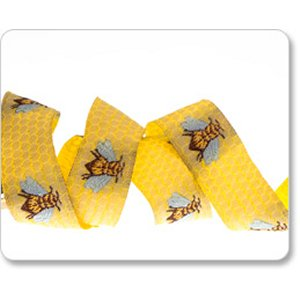 Renaissance Ribbons Laura Foster Nicholson Ribbon Fabric - Honeybee - Gold - 5/8""