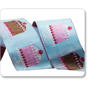 Renaissance Ribbons Laura Foster Nicholson Ribbon Fabric - Tiny Cakes - Turquoise - 1""