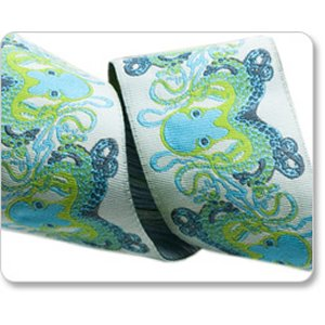 Renaissance Ribbons Tula Pink Ribbon Fabric - Octogarden - Blue - 1-1/2""