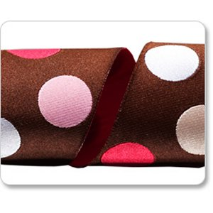 Renaissance Ribbons Fabric - Dots - Brown and Pink - 1-1/2""