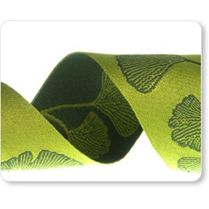 Renaissance Ribbons Fabric - Gingko - Green Reversible - 1-1/2""
