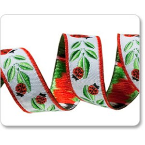 Renaissance Ribbons Raphael Kerley Ribbon Fabric - Ladybugs - Red - 5/8""