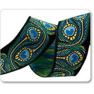 Renaissance Ribbons Raphael Kerley Ribbon Fabric - Peacock - Blue/Green - 7/8""