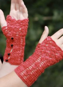 Madelinetosh Tosh Lace Little Red Fingerless Gloves Kit - Crochet for Adults