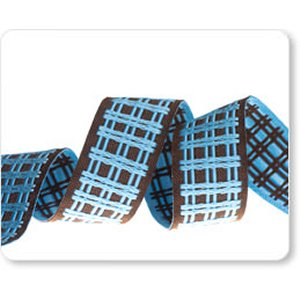 Renaissance Ribbons Fabric - Plaid - Blue/Brown Reversible - 5/8""