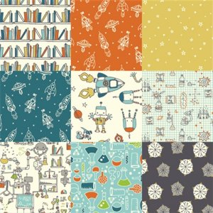 Birch Fabrics Robotic Fabric - Robotic Patchwork (RG-10)