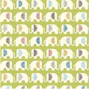 Birch Fabrics Safari Soiree Fabric - Ele Train Grass (DS-20)