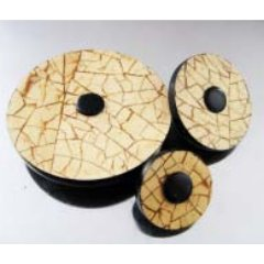 Jul Natural Pedestal Buttons - Ivory Cracking Coconut - Large 2""
