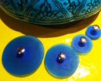 Jul Resin Pedestal Buttons - Turquoise - Small 1.25""