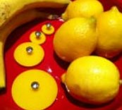 Jul Resin Pedestal Buttons - Banana - Large 2""