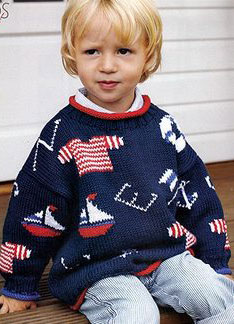 Debbie Bliss Cotton DK Flag and Lifebelt Sweater Kit - Baby and Kids Pullovers