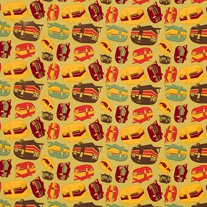 Mark Cesarik Summer Camp Fabric - Campers - Gold