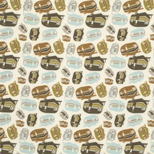 Mark Cesarik Summer Camp Fabric - Campers - Taupe