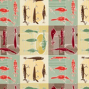 Mark Cesarik Summer Camp Fabric - Fishing Lures - Gold
