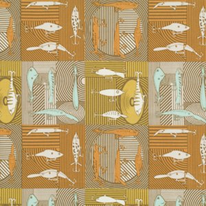 Mark Cesarik Summer Camp Fabric - Fishing Lures - Taupe
