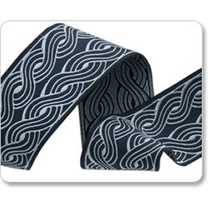 Renaissance Ribbons Parson Gray Ribbon Fabric - Wales - Blue Reversible - 1-1/2""
