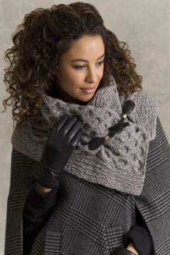 Tahki Stacy Charles Tara Tweed Austen Cabled Cowl With Toggles Kit - Scarf and Shawls