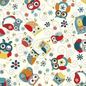 AdornIt Nested Owl Charcoal Fabric - Owls All Around - Charcoal