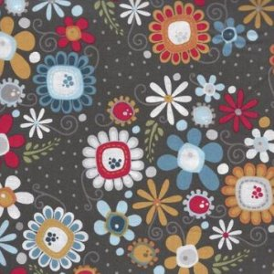 AdornIt Wildflower Fabric - Daisy Bouquet - Charcoal