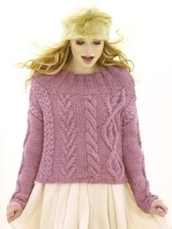 Sublime Chunky Merino Tweed Folklore Cables and Ribs Pullover Kit - Women's Pullovers