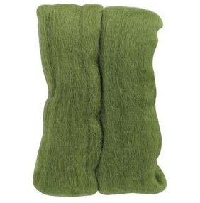 Clover Natural Wool Roving Yarn - Moss Green