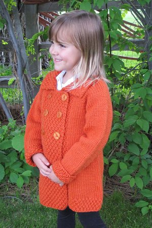 Knitting Pure and Simple Baby & Children Patterns - 1304 - Girl's Double Breasted Coat Pattern