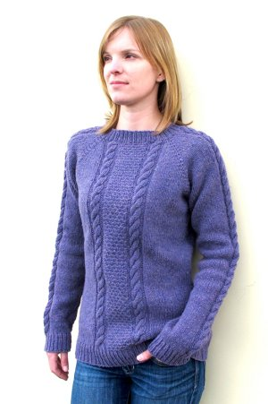 Knitting Pure and Simple Women's Sweater Patterns - 1305 - Beginner Cable Pullover Pattern