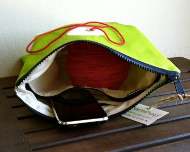 Top Shelf Totes Yarn Pop - Gadgety - Bright Green Polka-dots