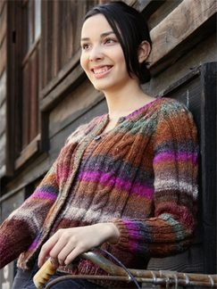 Noro Silk Garden Ladies Cabled Jacket Kit - Women's Cardigans