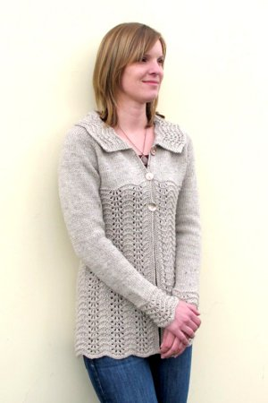 Knitting Pure and Simple Women's Cardigan Patterns - 1307 - Easy Lace Cardigan Pattern