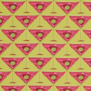 George Mendoza Martini Fabric - Martini Glass - Apple