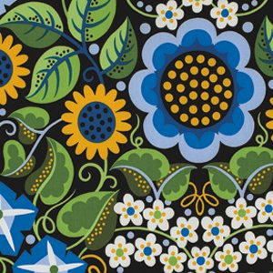 Jane Sassaman Wild Child Fabric - Flower Fiesta - Blue