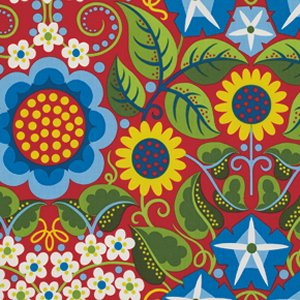 Jane Sassaman Wild Child Fabric - Flower Fiesta - Red