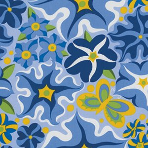 Jane Sassaman Wild Child Fabric - Passionate Petunias - Blue
