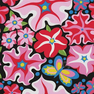 Jane Sassaman Wild Child Fabric - Passionate Petunias - Pink
