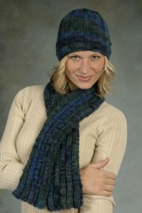 Plymouth Baby Alpaca Grande Ribs and Ridges Hat/Scarf Set Kit - Scarf and Shawls