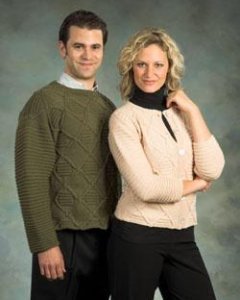 Plymouth Worsted Merino Superwash Cabled Pullover Kit - Mens Sweaters
