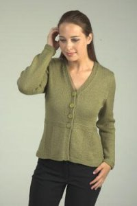 Plymouth Worsted Merino Superwash Back Panel Seed Cardigan Kit - Women's Cardigans
