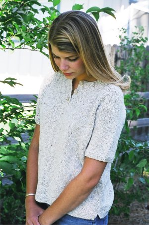 Knitting Pure and Simple Summer Sweater Patterns - 9727 - Henley T-Shirt For Women Pattern