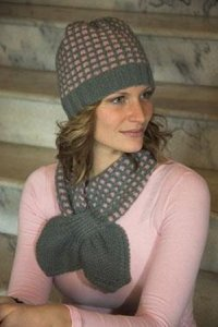 Plymouth Encore Worsted Mosaic Scarf & Hat Set Kit - Scarf and Shawls