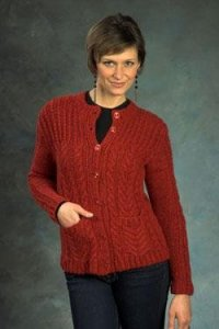 Plymouth Baby Alpaca Aire Cabled Cardigan Kit - Women's Cardigans