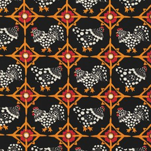 Luella Doss Fowl Play Fabric - Chicken Tiles - Black
