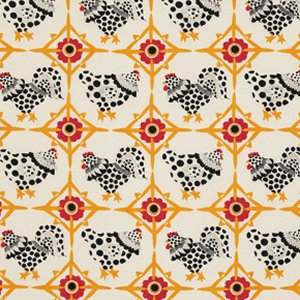 Luella Doss Fowl Play Fabric - Chicken Tiles - Ivory