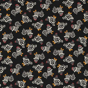 Luella Doss Fowl Play Fabric - Chix Allover - Black