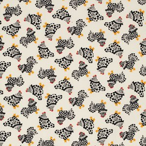 Luella Doss Fowl Play Fabric - Chix Allover - Ivory