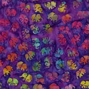 Michael Miller Fabrics Batiks Fabric - Little Elephants - Amethyst