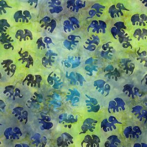 Michael Miller Fabrics Batiks Fabric - Little Elephants - Mineral