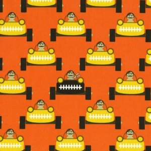 Michael Miller Fabrics Les Monsieurs Fabric - Gentlemen Start Your Engines - Orange
