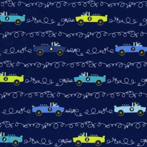 Michael Miller Fabrics Les Monsieurs Fabric - Scribble Cars - Navy