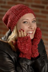 Plymouth Women's Accessory Patterns - 2611 Cable Rib Hat And Flip Top Mitts Pattern